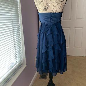 Blue Satin and chiffon dress